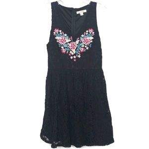 Francesca's black lace embroidered heart dress